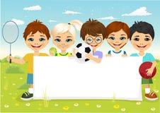 Enfants avec l'article de sport différent illustration stock