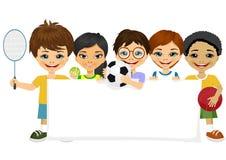 Enfants avec l'article de sport différent illustration libre de droits