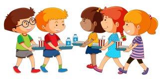 Enfants avec l'ensemble de déjeuner illustration libre de droits