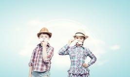 Enfants avec la moustache Photographie stock