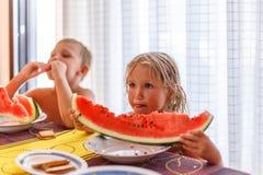 Enfants avec la pastèque, été image stock