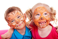 Enfants avec la peinture du visage. Image stock