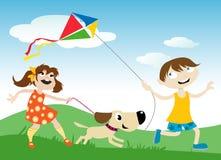Enfants avec le cerf-volant Photo stock
