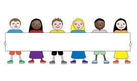 Enfants avec le drapeau Photo libre de droits