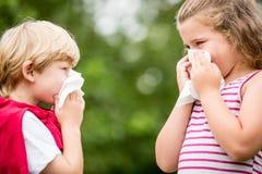 Enfants avec le rhume des foins éternuant photo libre de droits