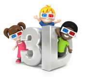 Enfants avec le verre 3d Photo libre de droits
