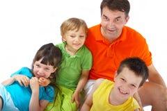 Enfants avec leur oncle Photos stock