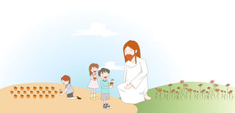 Enfants avec un dieu Photographie stock
