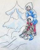 Enfants ayant l'amusement en hiver illustration libre de droits