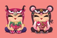 Enfants chanceux de zodiaque chinois : Boeuf et souris Image stock