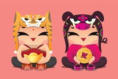 Enfants chanceux de zodiaque chinois : Tigre et porc Photo libre de droits