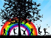 Enfants chassant des guindineaux illustration libre de droits