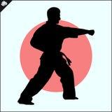 enfants chinois de KONGFU Scène de silhouette de combattant de karaté Image stock