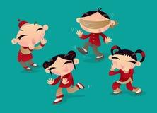 Enfants chinois jouant le jeu populaire de ` d'enfants de ` sans visibilité de poulet de ` en Chine du sud Images libres de droits
