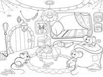 Enfants colorant le vecteur de souris de famille de maison de bande dessinée illustration de vecteur