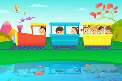 Enfants conduisant un train en monde de conte de fées illustration stock