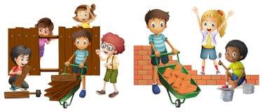 Enfants construisant le mur de briques et la barrière en bois illustration de vecteur