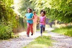 Enfants courant dans la campagne avec le père Photographie stock libre de droits