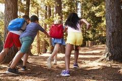 Enfants courant le long de Forest Trail On Hiking Adventure image libre de droits