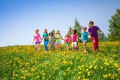 Enfants courants tenant des mains dans le pré Image libre de droits