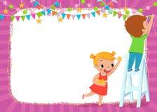 Enfants décorant pour une partie Images stock