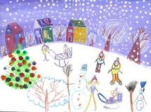 Enfants d'aquarelle dessinant le tour de traîneau d'hiver Image stock