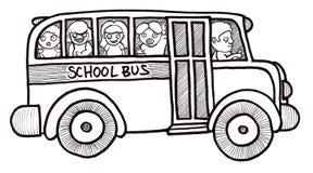Enfants d'autobus scolaire noirs et blancs Photos stock