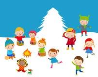 Enfants d'hiver Photos libres de droits