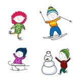 Enfants d'hiver Images libres de droits