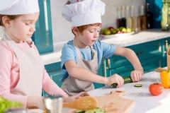 enfants dans des chapeaux de chef et tabliers préparant la salade végétale ensemble Image libre de droits