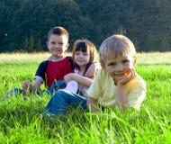 Enfants dans l'herbe Image stock