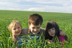 Enfants dans l'herbe Photo libre de droits