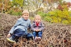 Enfants dans la chute Photographie stock libre de droits