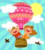 enfants dans le baoon d'air chaud Image stock