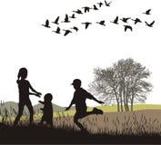 Enfants dans le pays d'automne, illustratio de vecteur Image libre de droits