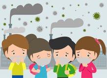 Enfants dans les masques en raison de la poussière fine P.M. 2 masque de port de 5, de garçon et de fille contre le brouillard en illustration de vecteur