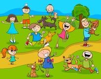 Enfants de bande dessinée avec des chiens en parc illustration libre de droits