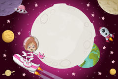 Enfants de bande dessinée d'astronaute illustration de vecteur