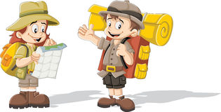 Enfants de bande dessinée dans l'équipement d'explorateur illustration libre de droits