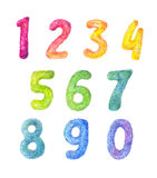Enfants de bande dessinée de nombres réglés Collection pelucheuse de chiffre d'aquarelle Photographie stock libre de droits