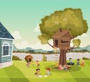 Enfants de bande dessinée jouant sur l'arrière-cour d'une maison colorée dans le voisinage de banlieue Sports et récréation illustration de vecteur