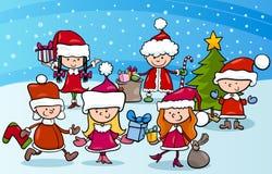 Enfants de bande dessinée sur Noël illustration stock