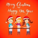 Enfants de bonne année de Joyeux Noël faisant cuire le dîner de Noël Caractères de vecteur de bande dessinée Childs mignons dans  Photos stock