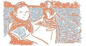 Enfants de canoë-kayak dans le lac illustration de vecteur