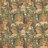 Enfants de cru avec Holly Garlands Christmas Background - modèle illustré par cru - papier d'album à Digital illustration stock