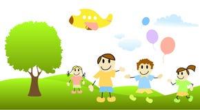 Enfants de dessin animé avec la scène de nature Photographie stock libre de droits