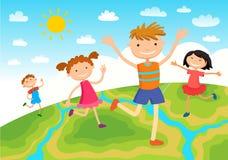 Enfants de globe Jour de terre d'enfants Vecteur Photos libres de droits