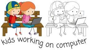 Enfants de griffonnage travaillant sur l'ordinateur illustration de vecteur