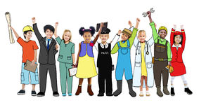 Enfants de groupe tenant le concept d'uniforme de variation Image stock