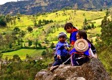 Enfants de Guambiano sur la roche, Colombie Images libres de droits